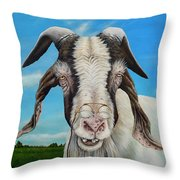 Old Goat - Painting By Cindy Chinn Throw Pillow