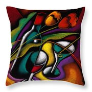 Wine And Flowers Throw Pillow