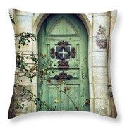 Old Gothic Door Throw Pillow