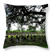Old Graveyard Framed By Live Oak Throw Pillow