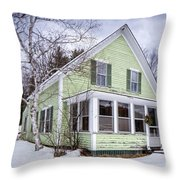 Old Green And White New Englander Home Throw Pillow
