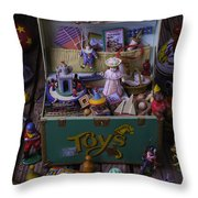 Old Green Toy Box Throw Pillow