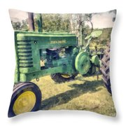 Old Green Vintage Tractor Watercolor Throw Pillow