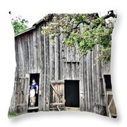 Old Grey Barn With Vistors Throw Pillow