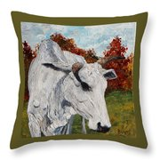 Old Grey Cow Throw Pillow