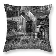 Old Grist Mill In Vermont Black And White Throw Pillow