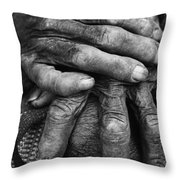Old Hands 3 Throw Pillow