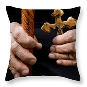 Old Hands And Crucifix  Throw Pillow