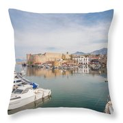 Old Harbour Of  Kyrenia, In Cyprus Throw Pillow