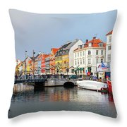 Old Harbour Of Nyhavn  Throw Pillow