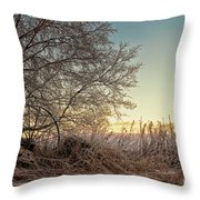 Old Harvester By The Birch Tree Throw Pillow