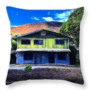 Old Hawaii Store - Signed Throw Pillow