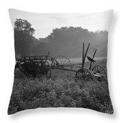 Old Hay Baler In Misty Field Throw Pillow