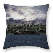 Old Highway 41 Swing Bridge Over The Wando River In Charleston Sc Throw Pillow