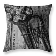 Old Horn And Roses On Door Black And White Throw Pillow