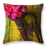 Old Horn And Roses On Door Throw Pillow