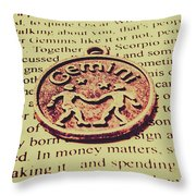 Old Horoscope Of Gemini Throw Pillow