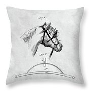Old Horse Blinker Patent Throw Pillow