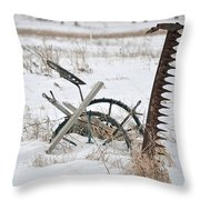 Old Horse Drawn Sickle Mower Throw Pillow