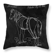 Old Horse Harness Patent  Throw Pillow
