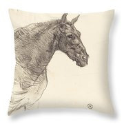 Old Horse (le Vieux Cheval) Throw Pillow