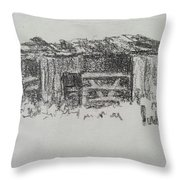 Old Horse Shed  Throw Pillow