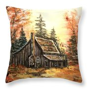 Old House And Pump Throw Pillow