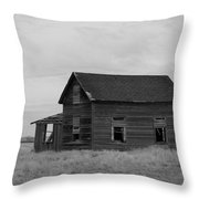 Old House And Windmill North Dakota  Throw Pillow