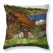 Old House By The River Throw Pillow