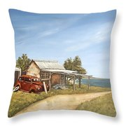 Old House By The Sea Throw Pillow