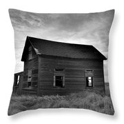 Old House In A Barren Field Throw Pillow