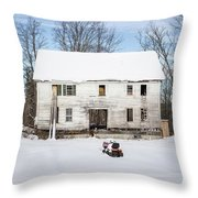 Old House In The Snow Springfield New Hampshire Throw Pillow