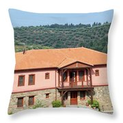 old house Sithonia Greece summer vacation scene Throw Pillow