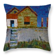 Old House With Lamppost Throw Pillow