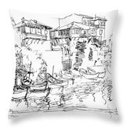 Old Houses And Boats Throw Pillow