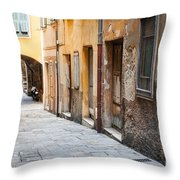 Old Houses On Narrow Street In Villefranche-sur-mer Throw Pillow