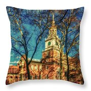 Old Independence Hall Throw Pillow