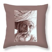 Old Indian Man Throw Pillow