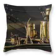 Old Industrial Copper Tools For Maintanance Throw Pillow