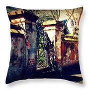Old Iron Gate In Charleston Sc Throw Pillow