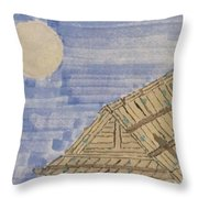 Old Japan At Nightfall Throw Pillow
