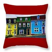 Old Jellybean Row Houses Throw Pillow