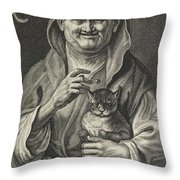 Old Jester With Cat, Alexander Voet II, After Jacob Jordaens I, 1662-1674 Throw Pillow