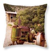 Old John Deer Tractor Throw Pillow