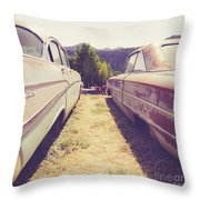 Old Junkyard Cars Chevy And Ford Utah Throw Pillow