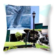 Old Kauai Village Clock Tower Throw Pillow