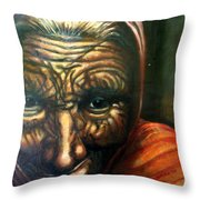 Old Lady - Map Of Life Throw Pillow