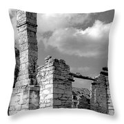 Old Limestone House Ruins Throw Pillow