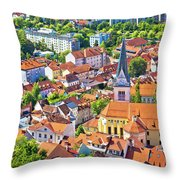 Old Ljubljana Cityscape Aerial View Throw Pillow