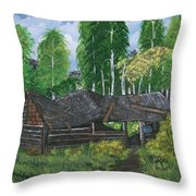 Old Log Cabin And   Memories Throw Pillow
